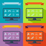 Collection set of flat icons business theme Stock Images