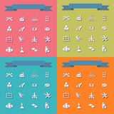 Collection set of flat icons business theme Stock Image
