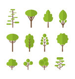 Collection set flat icons tree, garden bush. Collection set flat icons tree, pine, oak, spruce, fir, garden bush isolated on white - Vector Royalty Free Stock Photo
