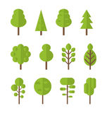 Collection set flat icons tree, garden bush. Collection set flat icons tree, pine, oak, spruce, fir, garden bush isolated on white - Vector Royalty Free Stock Photos