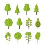 Collection set flat icons tree, garden bush Royalty Free Stock Photos