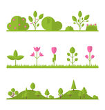 Collection set flat icons tree, garden bush Royalty Free Stock Photo