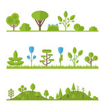 Collection set flat icons tree, pine, oak, spruce, fir, garden Stock Images