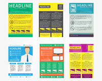 Collection set of flyer, leaflets, poster vector templates Royalty Free Stock Photo