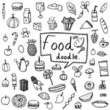 Vector illustration set of food and drink, fruits and vegetables doodle drawn in black outline on white background. Collection set of food and drink doodle in Stock Illustration