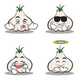 Collection set of garlic cartoon character. Vector illustration Royalty Free Stock Images