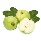 Collection set of Guavas with leaves and guava were cut into pieces . Collection set of Guavas with leaves and guava were cut into pieces isolated on white Stock Image