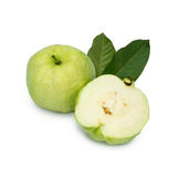 Collection set of Guavas with leaves and guava were cut into pieces . Collection set of Guavas with leaves and guava were cut into pieces isolated on white Stock Photos