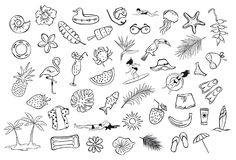 Collection set of hand drawn outlined summertime item objects  sketchy doodles, flamingo, toco toucan pineapple watermelon surfer Stock Images