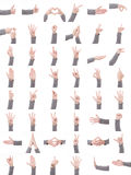 Collection set of many different hands symbols isolated on white background. Collection set of many different man`s hands symbols isolated on white background stock image