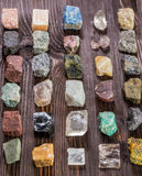 Collection set of minerals and stones. Stock Photos