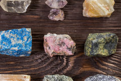 Collection set of minerals and stones. Royalty Free Stock Photo