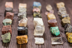 Collection set of minerals and stones. Royalty Free Stock Image