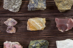 Collection set of minerals and stones. Stock Photo