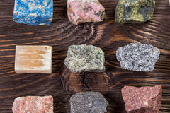 Collection set of minerals and stones. Royalty Free Stock Photography