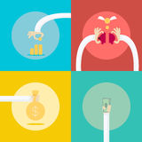 4 Collection set for money profit Income business concept. Royalty Free Stock Photography