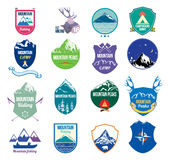 Collection set mountains and camping logo, labels and design elements. Royalty Free Stock Photography