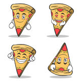 Collection set pizza character cartoon. Vector illustration Stock Image