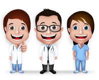 Collection Set of Realistic 3D Young Friendly Professional Doctor Stock Photo