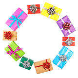 Collection set of rows colorful gift boxes Royalty Free Stock Images