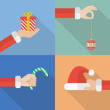 Collection set of Santa hand holding christmas objects Royalty Free Stock Photo
