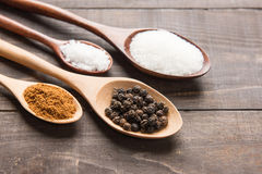 Collection set of spices on wooden spoons. ( Black pepper, salt Royalty Free Stock Photo