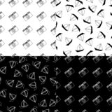 Summer patterns. Collection set of summer seamless pattern. photo camera, sailfish on black and white background vector illustration