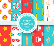 Collection set of summer vacation seamless pattern. Beach umbrella, lifebuoy, diving, equipment, towel, ocean with label Royalty Free Stock Image