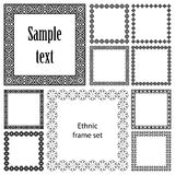 Collection set of ten square frames with ethnic borders. Mega set of geometric frames in black color isolated on white background. Collection of ten square with Stock Images
