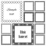 Collection set of ten square frames with ethnic borders. Mega set of geometric frames in black color isolated on white background. Collection of ten square with Royalty Free Stock Images