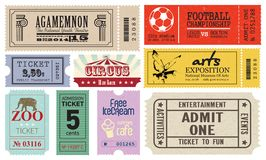 Collection (set) of Tickets Royalty Free Stock Photos