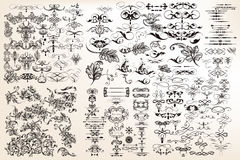 Collection or set of vector vintage flourishes for design in ant royalty free illustration