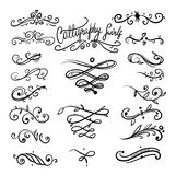 Collection or set of vintage styled calligraphy swirls stock illustration