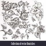 A collection or set of vintage styled flourishes filigree drawn. Collection or set of vintage styled flourishes and flowers stock illustration