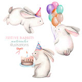 Collection, set of watercolor festive rabbits Royalty Free Stock Photography