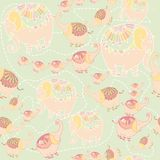 Collection of seven elephants lined. Collection of seven elephants  pattern Stock Images