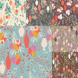 Collection of seven vector seamless patterns with floral element Royalty Free Stock Photo