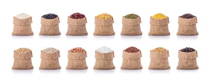 Collection of several beans, rice, coffee in small sack. Studio Royalty Free Stock Photography