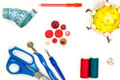 Collection of sewing items. High angle view of a collection of sewing items stock photos