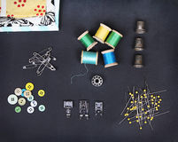 A collection of sewing items Royalty Free Stock Photography