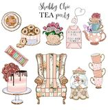 Collection of Shabby Chic items and tea Party set - handmade raster clip arts. Collection of Shabby Chic items and tea Party set - handmade raster clip art royalty free illustration