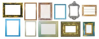 Collection of shabby distressed picture frames, isolated on whit Stock Images