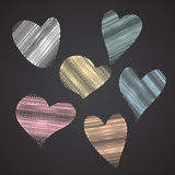 Collection of Shapes of heart  imitating colorful chalk on black. Chalkboard, illustration Royalty Free Stock Photos