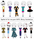 Collection of sheep. Fashionable characters. Stock Image