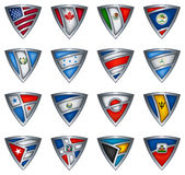 Collection shield with flag of the America Stock Photo