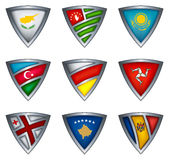 Collection shield with flag of the europe Stock Photos