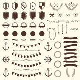 Collection of shields, badges and labels. Vector design elements. Vintage hipster labels, arrows, bows, anchors and rudders. Vector illustration Stock Photo