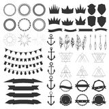 Collection of shields, badges and labels. Vector design elements. Vintage hipster labels, ribbons, garlands, arrows, feathers and anchors. Vector illustration Stock Photos