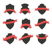 Vector Black Shields. Collection of shields or badges with red ribbons wrapped around them. Blank vector signs with placeholders Stock Photo