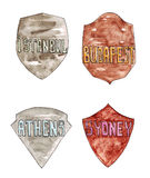 Collection of shields with names of world capital cities Stock Photo